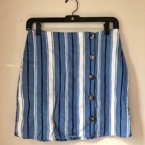 Anthropologie Moa Moa Striped Linen Wrap Skirt M